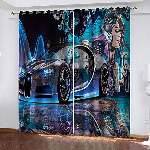 TTBBBB Tenda Cameretta Bimba Graffiti della città dell'auto Tende Soggiorno 90% Tende Oscuranti con Occhielli Tende Termiche Isolanti per Interni Tende Moderne per Soggiorno 2 Pannelli