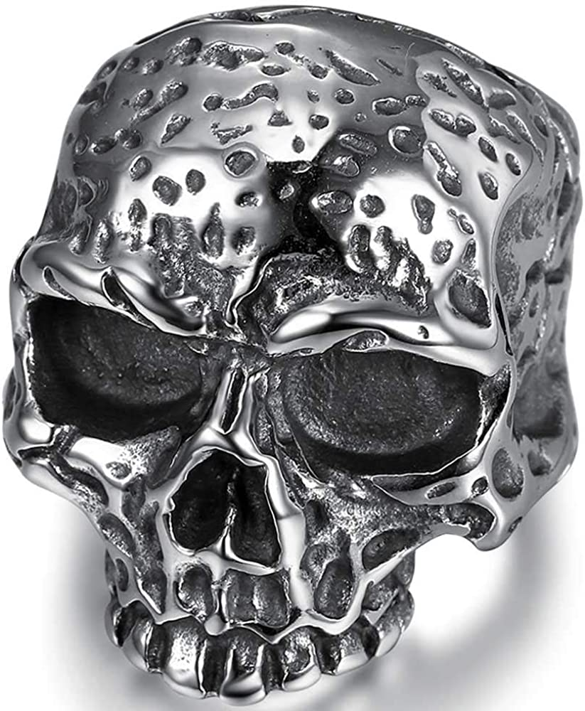 Jude Jewelers Stainless Steel Gothic Skull Vintage Antique Style Cocktail Party Holiday Statement Biker Ring