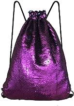 FLORICA Mermaid Sequin Drawstring Bags Reversible Flip Sequins Backpacks Magic Tote Glittering Shoulder Bags for Girls Kids Women