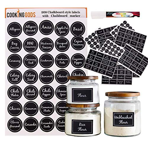 301 Chalkboard Spice Jar Labels - Stickers for Pantry Organization and Kitchen Storage - For Food Containers, Canisters, Labeling Jars, Canning and Spices
