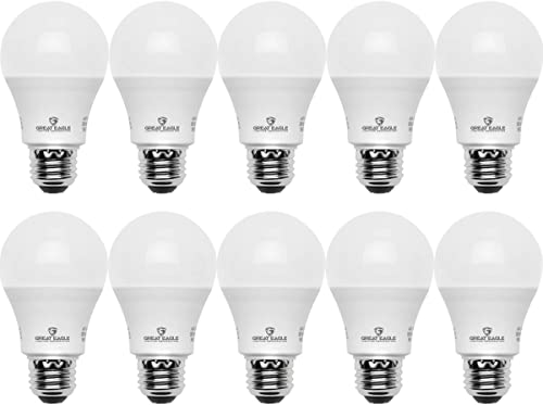 Great Eagle A19 LED Light Bulb, 9W (60W Equivalent), UL Listed, 2700K (Warm White), 750 Lumens, Non-dimmable, Standar...