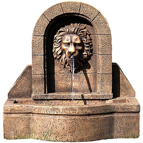 """STILISTA® Gartenbrunnen Modell """"Leon"""" mit Löwenkopf Springbrunnen 50 x 54 x 29 cm inkl. Pumpe"""