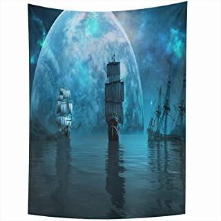 Ahawoso Tapestry 50x60 Inches Pirate Two Sailing Ships Huge Screen Blue Planet Shipwreck Sea Night Ocean Wall Hanging Home Decor Tapestries for Living Room Bedroom Dorm
