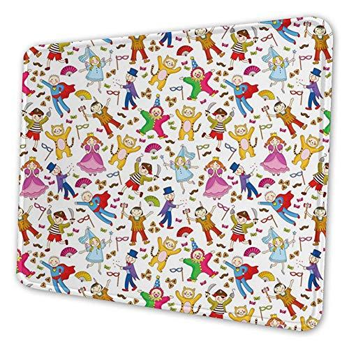 Rechthoekige Mousemat Mousepad, Native American Pirate Princes Cat Kostuum dragen Kinderen Patroon Kleurrijke Abstract