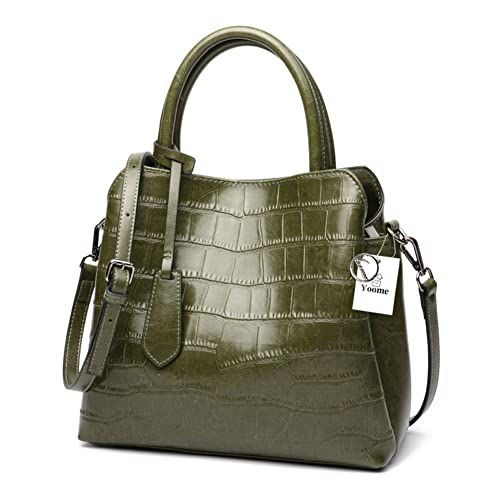 2a830990c85 Yoome Classic Ladies Crocodile Embossed Leather Satchel Bag Women's  Top-handle Handbags Purse