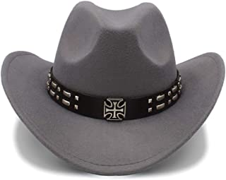 Sunhat Sun Hat Cool Western Cowboy Hats Men Sun Visor Cap Women Travel Western Hats Chapeu Cowboy Equestrian Cap (Color : Gray, Size : 56-58cm)