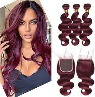 99j Wine Red Hair Weaves With 4X4 Lace Closure 4Pcs Lot Brazilian Virgin Hair Mink Burgundy Body Wave Human Hair 3 Bundles...
