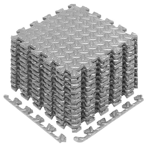 Yes4All Interlocking Exercise Foam Mats with Border – Interlocking Floor Mats for Gym Equipment – Eva Interlocking Floor Tiles Gray