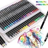 Ensemble de 50 vrais stylos pinceau, 48 stylos pinceau aquarelle et 2 stylos à eau pour haletant...