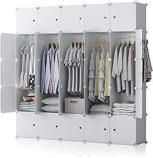 GEORGE&DANIS Portable Wardrobe Closet Plastic Dresser Bedroom Armoire DIY Cube Storage Organizer, White, 18 inches Depth, 5x5 Tiers