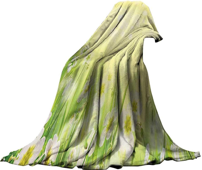 Weave Pattern Extra Long Blanket (60 x60 ) Throw Size for Kids Boys Women Men All SeasonFlower House Decor Natural Field Wildflowers Sunshine Grass Springtime bluerred Image Print Yellow Green White.