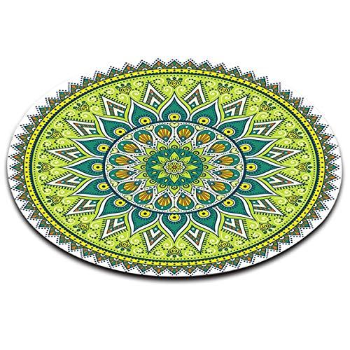 LB Indien,Mandala,Buddhismus,Blume_Rund Fläche Teppich Wohnzimmer Schlafzimmer Badezimmer Küche Bodenmatte Inneneinrichtung,60x60 cm