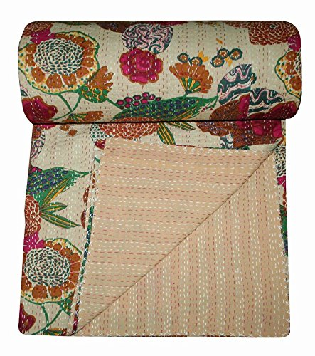 V Vedant Designs Indian Cotton Kantha Quilt Throw Blanket Bedspread Vintage Throw Gudari Cotton Handmade Kantha Quilt (Beige Fruit)