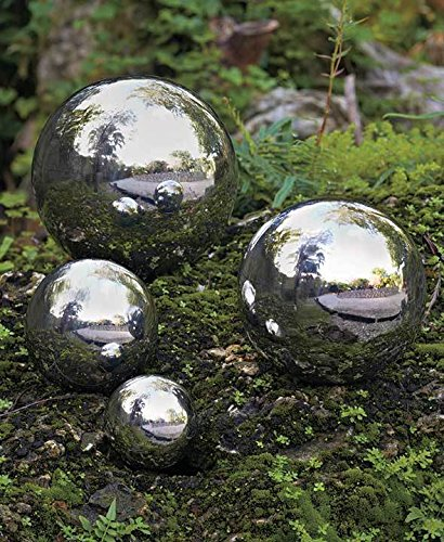 SET OF 4 STAINLESS STEEL GARDEN SHINY SPHERES ORBS YARD LAWN OUTDOOR HOME DÉCOR ;from#bixlife