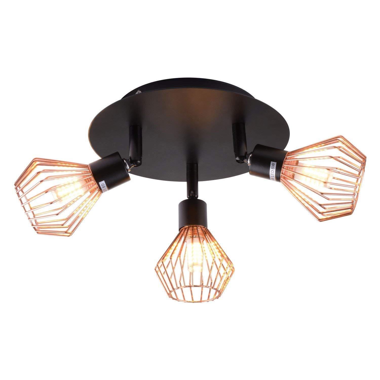DLINMEI Luz direccional interior de 3 cabezas dorada, lámpara de techo de triple cabeza, foco ajustable para la cocina, despensa, escalera, pasillo: Amazon.es: Iluminación