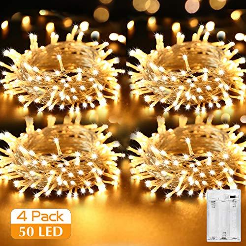 [4 Piezas] Guirnalda Luces Pilas, Kolpop 5m 50 LEDs Luces LED Pilas Luces LED Habitacion Luces de Cadena Micro con Pilas para Decoración Interior/Exterior Bodas Fiesta de Navidad(Blanco Cálido)