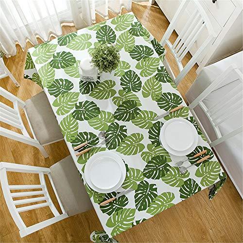 DHHY Pastorale Style Bleu Plante Verte Feuille De Bananier Coton Épaississement Décoration Nappe Table Cover Cuisine Home Décoration A 140X140cm