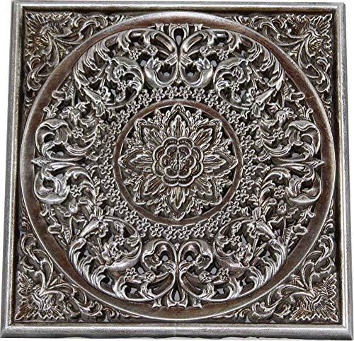 DRW Mandala Madera Calado Cuadrado (Plateado)