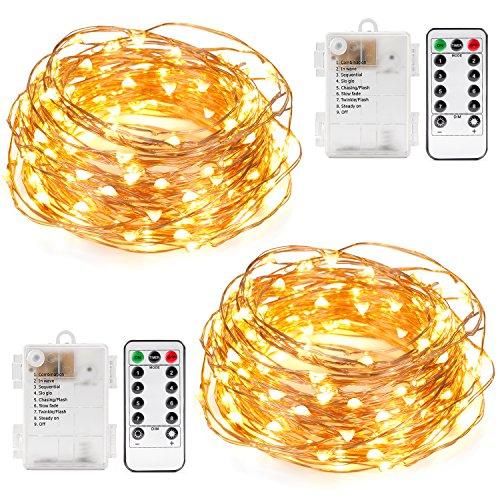 meilleures lumières de Noël solaires Kohree Guirlandes Lumineuses Pile LED