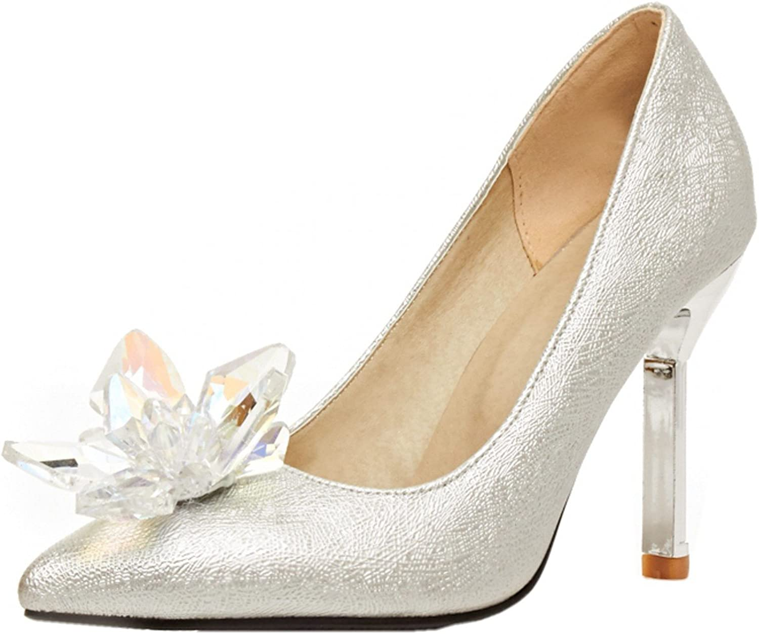 Lansdear Elegant New Silver Bridal shoes Dripping Wedding shoes High Heel Single shoes