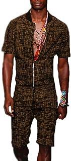 Babao Men's Zip Up Short Jumpsuit Overalls,Grandpa Collar Printed Short Sleeve Shorts Onesies