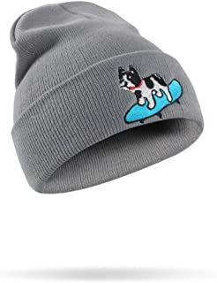 CATOP Plain Knit Cap Cold Winter Cuff Beanie Cute Puppy Dog Embroidery Skull Beanie Toboggan Knit Hat/Cap