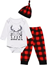 Baby Boys Girls Cute Deer Little Man Short Sleeve Plaid Clothes Outfit Set