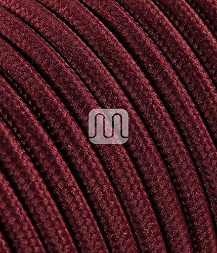 Cavo elettrico tondo rivestito in tessuto colorato per lampadari, lampade, abat jour. Il cavo elettrico diventa design! Scegli fra 30 colori. 5 Metri 2x0,75. Made in Italy! Bordeaux Rosso