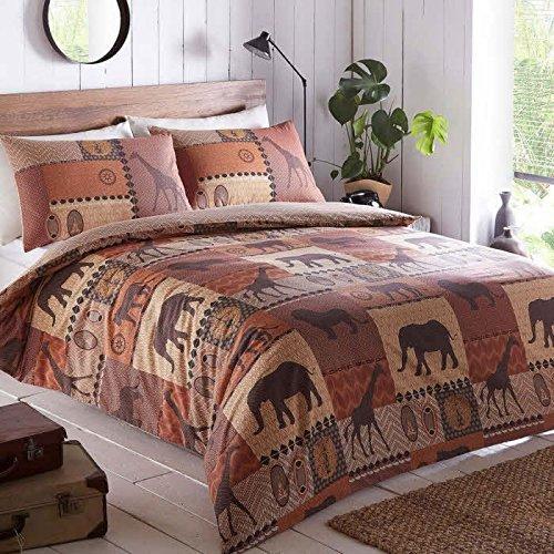 Kruger Safari Themed Duvet Cover and 1 Pillowcase Bedding Bed Set, Terracotta Brown, Single