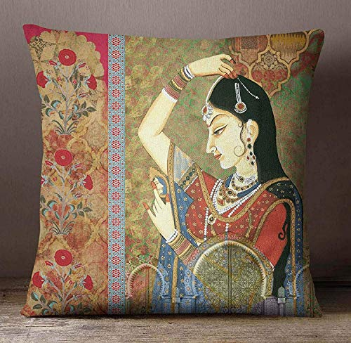 DKISEE Canvas Pillowcase Home Decorative Mughal Banithani Print Pillow Cover, Multicolor Square Cushion Cover, Canvas Pillow Case, Satin Cushion Covre 18 x 18 inch