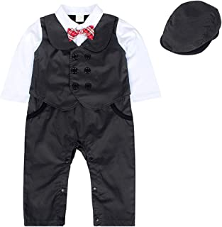 AmzBarley Toddler Baby Boy Formal Small Suit Romper Tie Long Sleeve Shirt Jacket Gentleman Set Party Wedding Outfit