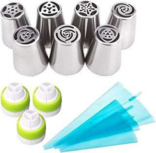 LOHOME Russian Piping Tips 13 Pieces/set - 7 Large Size Icing Tips [304 Stainless Steel] + 3 Tri Color Couplers + 3 Size Reusable Decorating Bags - Cake Decorating Piping Nozzles Kit