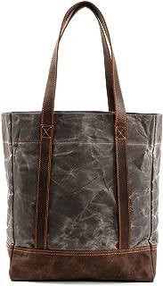 Black Large Travel Bag with Outer Zipper Pocket and Adjustable Shoulder Strap Caldo Canvas Market Tote