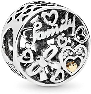 Family Tribute Charm, Two Tone - Sterling Silver and 14K Yellow Gold, Clear Cubic Zirconia, One Size