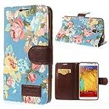 Unbekannt Flip Hülle Handy-Hülle Business Hülle zu Samsung Galaxy Note 3 Neo 3G / SM-N750, Galaxy Note 3 Neo LTE/GT-N7505 Blumen Frühling Sommer blau