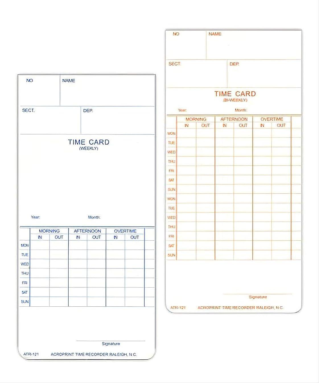 ポータル幼児代わってAcroprint atr121時間カード、250時間カード、Weekly &隔週Pay期間 1000 Cards