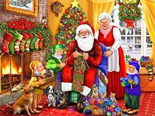YHZSML 5D Pintura Diamante_Santa Claus Diamond Painting 40x50cm_Bordado de Punto de Cruz, Manualidades Suministros de Manualidades para Sala de Estar