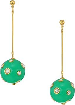 "2.5"" Gold Bar w/ Jade and Crystal Dots Ball Drop Post Earrings"