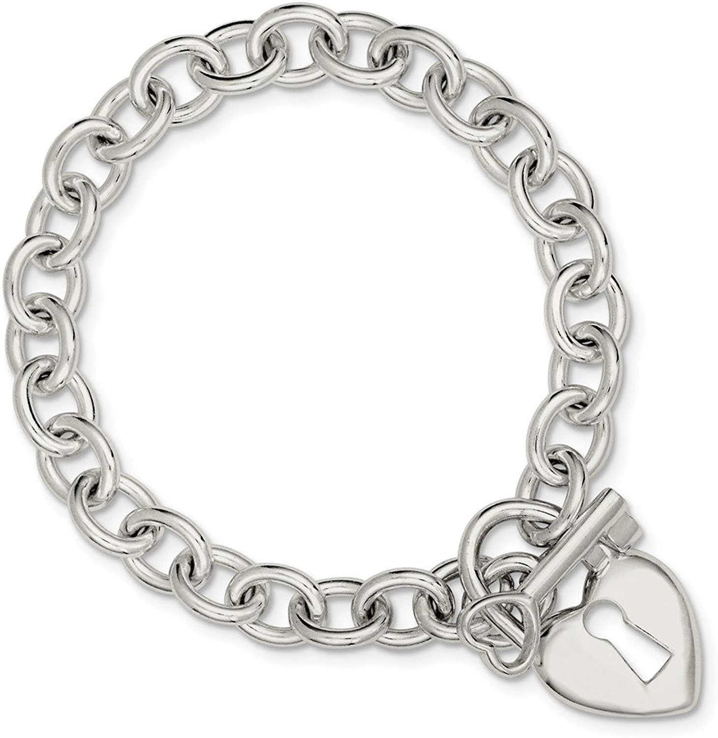 Beautiful Sterling silver 925 sterling Sterling Silver Polished Heart and Key Bracelet