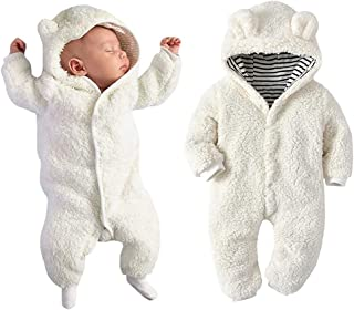 TAOHONG Newborn Baby Cartoon Bear Fleece Romper Hooded Stripe Bodysuit Winter Warm Jumpsuit Size 6-12Months/Tag80 (White)