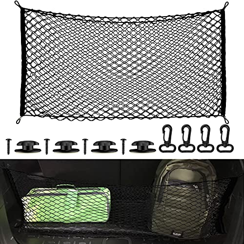 43 x 23 Inch 2-Layer Bungee Net Heavy Duty Net Cargo Net Bungee Nets with Hooks, Stretches Adjustable Storage Elastic Mesh Holds Small Large Loads for Pickup Truck SUV Trunk Carrier Luggage Truck