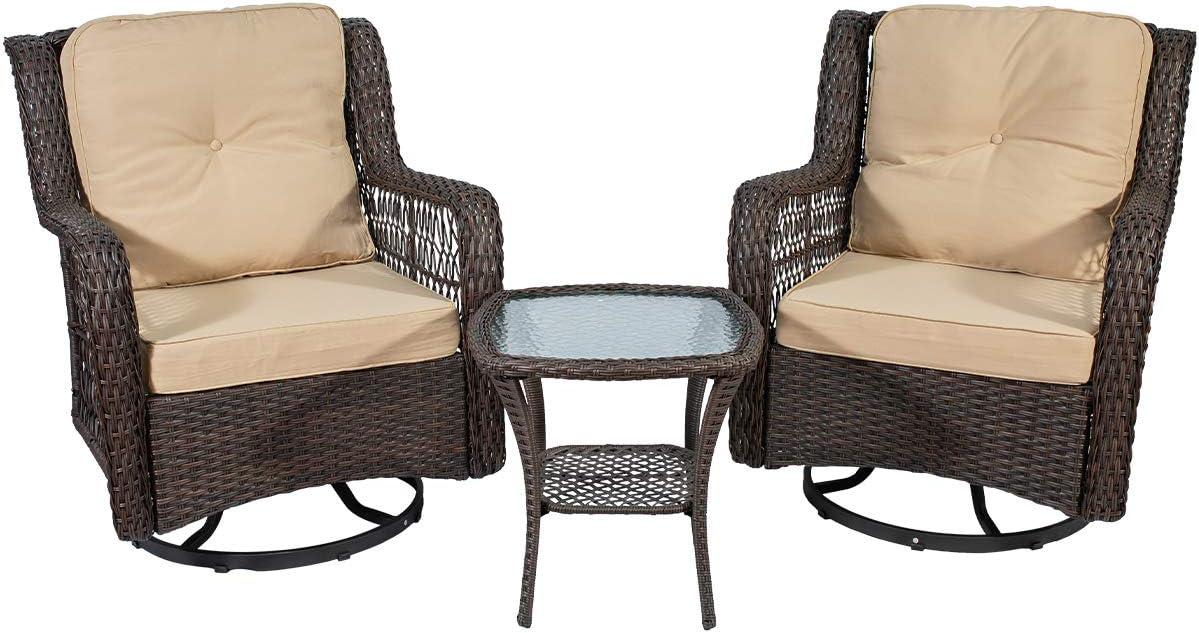 Eco Home Outdoor Patio San Diego Mall Wicker Bistro Degree Nashville-Davidson Mall Set Swivel Rock 360