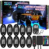SUZCO 10-pods Trucks LED RGB Neon Underglow Rock Lights Kit, 【Dual-Zone】+【160LEDs】+【2-in-1 Line】 Sync Music Under Wheel Well Lights Waterproof 12V with APP/RF/IR for Jeep Offroad ATV UTV SUV