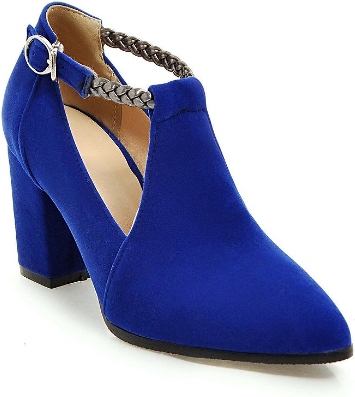 AIWEIYi Womens Fashion Pointed Toe Chunky High Heels Platform Pumps Dress shoes Black
