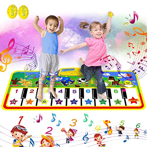 Vykor Toddler Music Blanket Large Touch Keyboard Dancing Carpet Kids Piano Floor Mat The Best Musical Toy For Children Kids Boys Girls Toddler135*59 CM