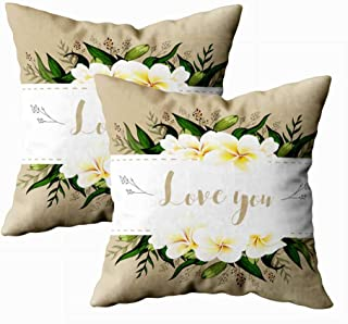 Musesh Pack of 2 Home Pillow Cases,Fall Wedding Invitation Card Floral Plumeria Bouquet and Golden Lettering Template Perfect Invitations,Wedding,Greeting for Sofa Decorative Pillowcase 18X18Inch