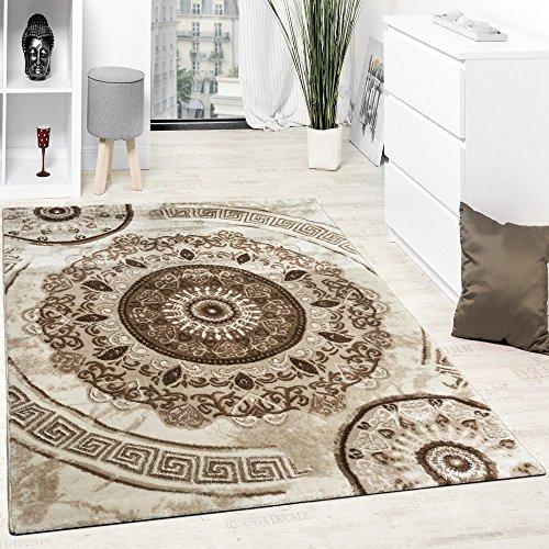 Paco Home Alfombra De Diseño con Hilo Brillante Motivos Clásicos Beige Marron Crema, Grösse:160x220 cm