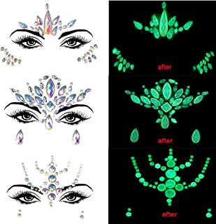 Noctilucent Face Gems Glow in the Dark Mermaid Face Jewels Crystal Decor Halloween Party Accessories