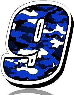 Biomar Labs® Startnummer Nummern Auto Moto Vinyl Aufkleber Sticker Blaue Tarnung Camouflage Motorrad Motocross Motorsport Racing Nummer Tuning 9, N 219
