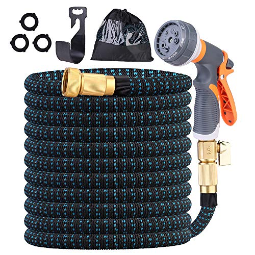 """Expandable Garden Hose with Triple Latex Core, 3/4"""" Solid Brass Connector Fittings Free 8 Function Spray Nozzle for Outdoor Flexible Garden Hose, 3750D Fabric Cover Garden Hose (100)"""